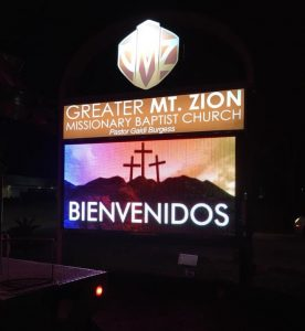 lighted digital message center pole sign